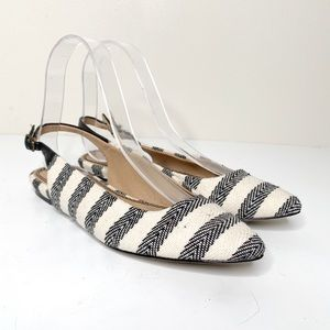 Splendid Blue White Striped Pointed Canvas Flats